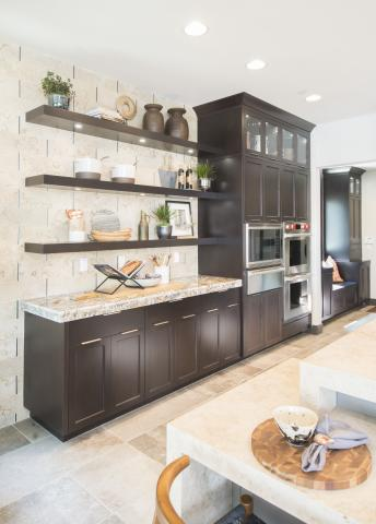 Maple Transitional Kitchen, Shaker Style with Floating Shelves, Glass Doors and Puck Lighting