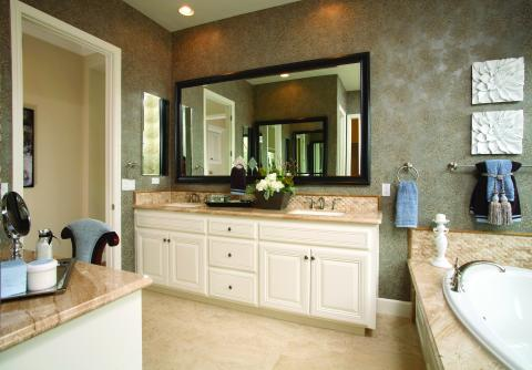 Traditional White Master Bathroom Vanity with Double Sinks and a Beautiful Tan Mixed Granite Countertop