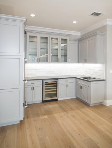 Transitional Painted Grey Bar Wine Cellar Cabinet with Wine Cooler and Beautiful Glass Doors