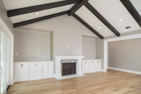 Clean Transitional White Great Room Built-Ins