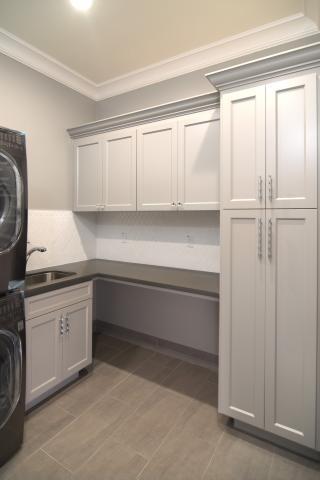 Transitional Light Grey Laundry Room Cabinets