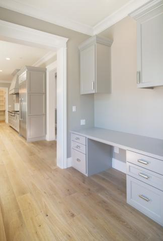 Painted Grey Built-In Desk with Stainless Steel Pulls
