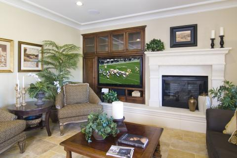 Traditional Stained Entertainment Center with Beautiful Glass Doors, Open Shelves and Oil Rubbed Bronze Hardware
