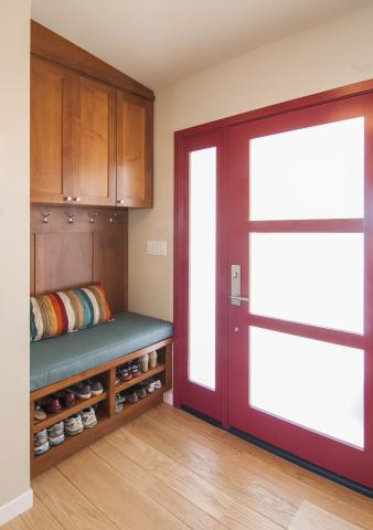 Transitional , Shaker Style Mudroom Built-In with Open Shelves for Shoe Storage and Silver Hardware