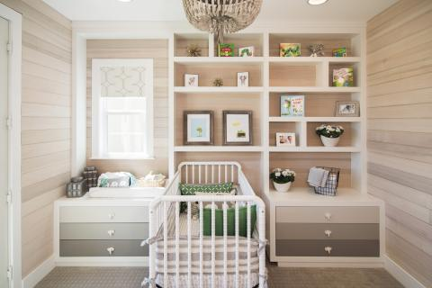 Beautiful Built-In for a Baby's Room with Open Shelves and Elephant Knobs