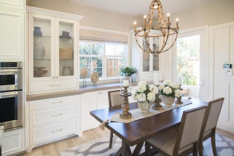 Transitional White Kitchen with Beautiful Wire Mesh Doors and Glass Shelve Inserts