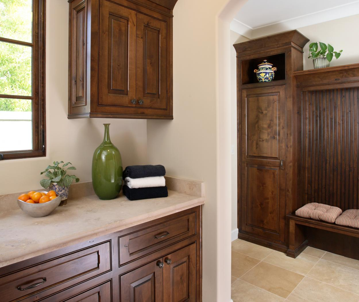 Traditional Knotty Alder Mud Room with Bench Seat