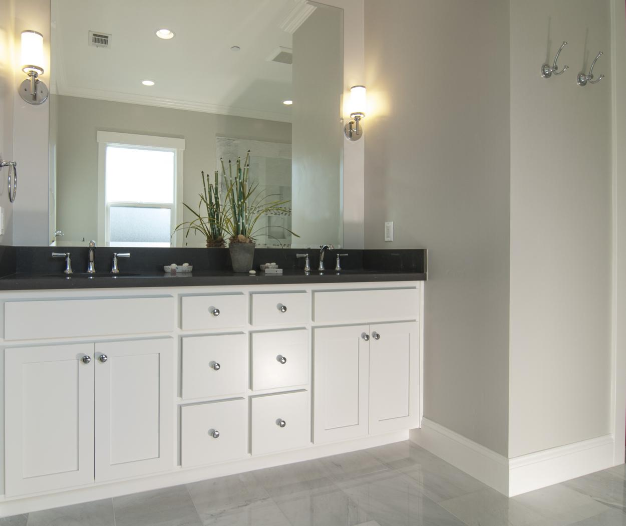 White Transitional Master Bathroom, Shaker Style with Double Sinks, Silver Faucet and Knobs