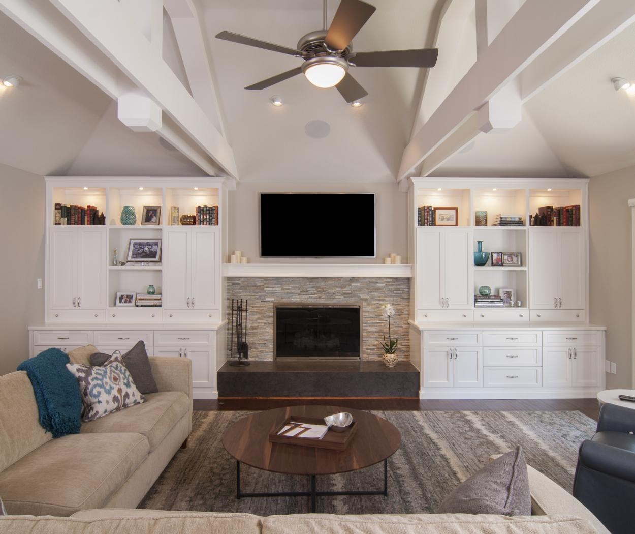 Beautiful White Entertainment Center with Open Shelves, Puck Lighting and Silver Knobs - Pulls