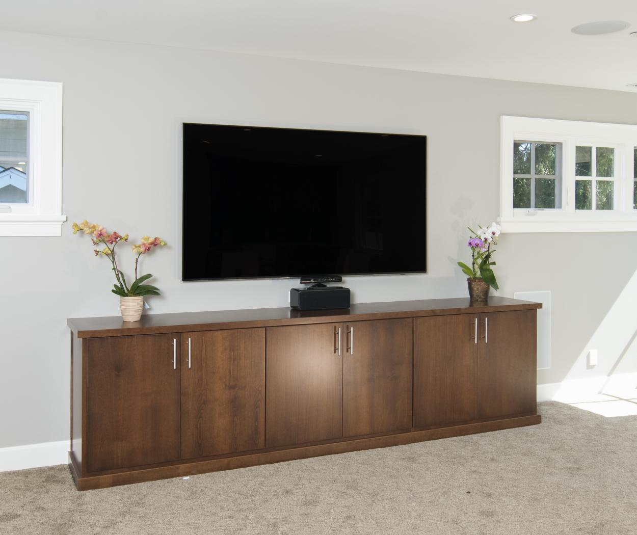 Contemporary Entertainment Center Built in Alder and Finished with a Chocolate Stain