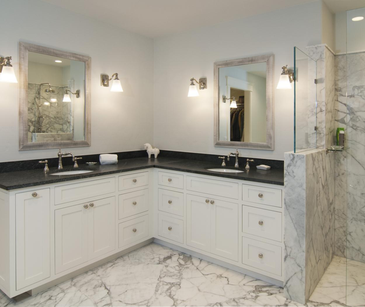 White Transitional Master Bathroom with Beautiful Marble Floors