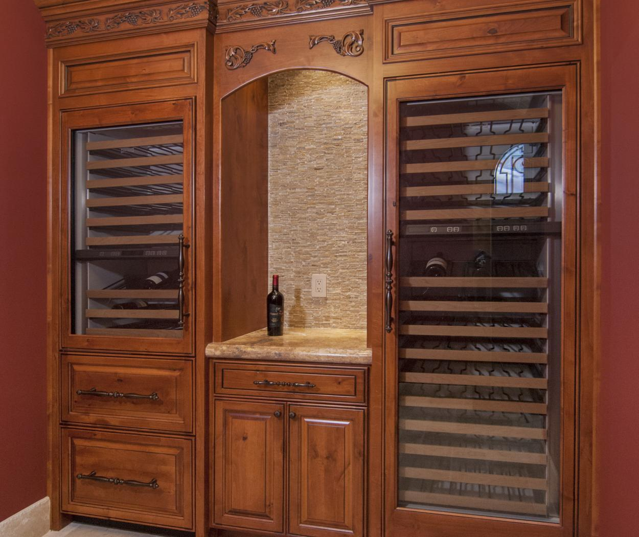 Traditional Stained, Knotty Alder Wine Bar with Decorative Molding, Two Wine Cellars and Oil Rubbed Bronze Hardware