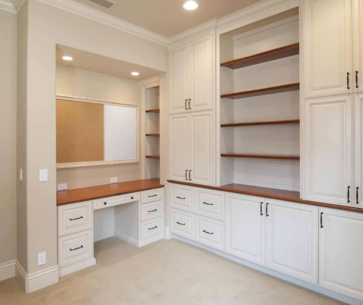 Beautiful Off White Office Built-Ins with Wood Tops, Open Wood Shelves and Oil Rubbed Bronze Hardware