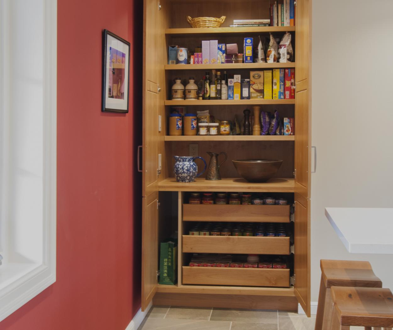 Beautiful Transitional Built-In Pantry for Extra Storage