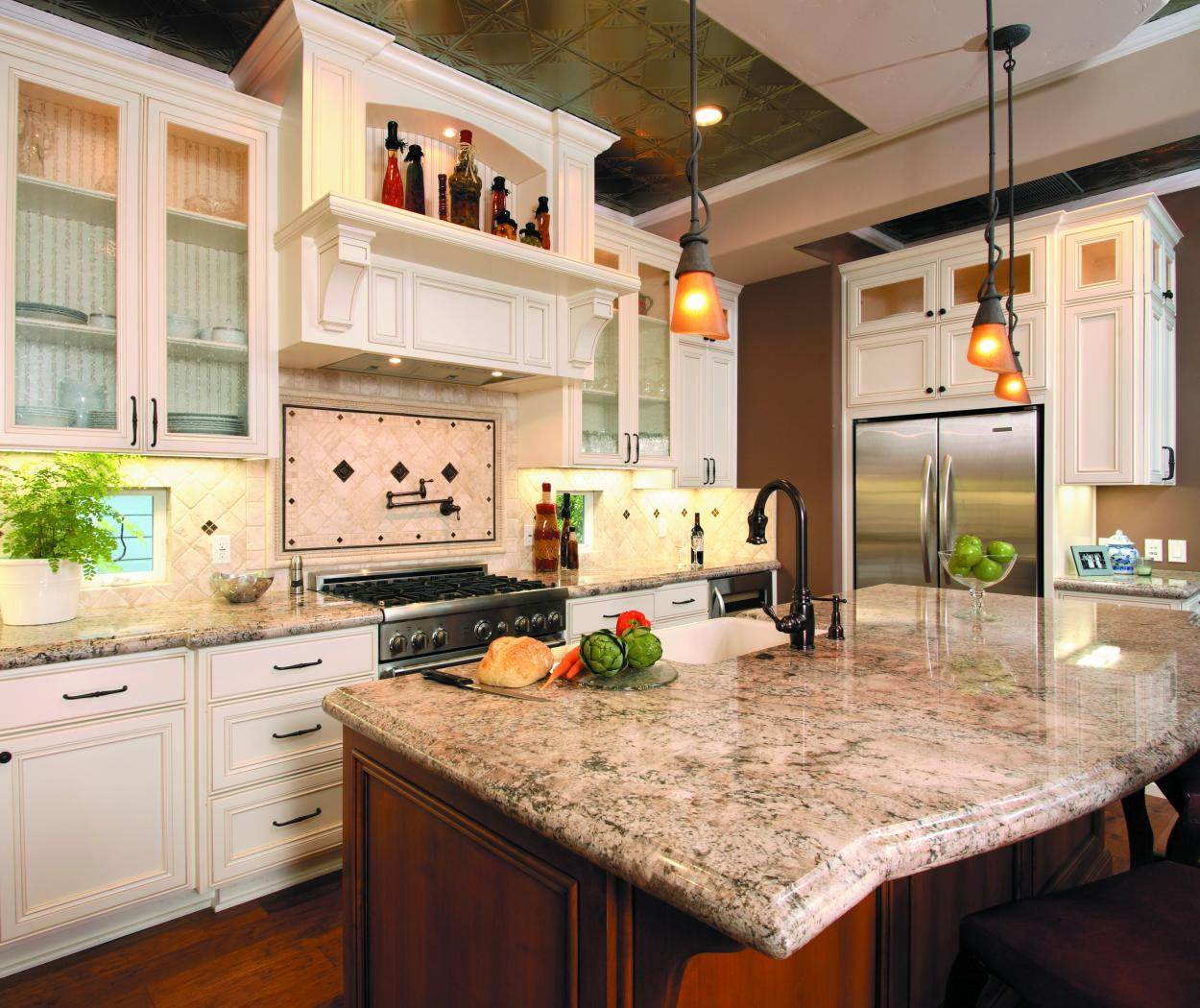 Transitional White Kitchen with a Beautiful Stained Island, Glass Doors, Beadboard Backing and Stainless Steel Appliances