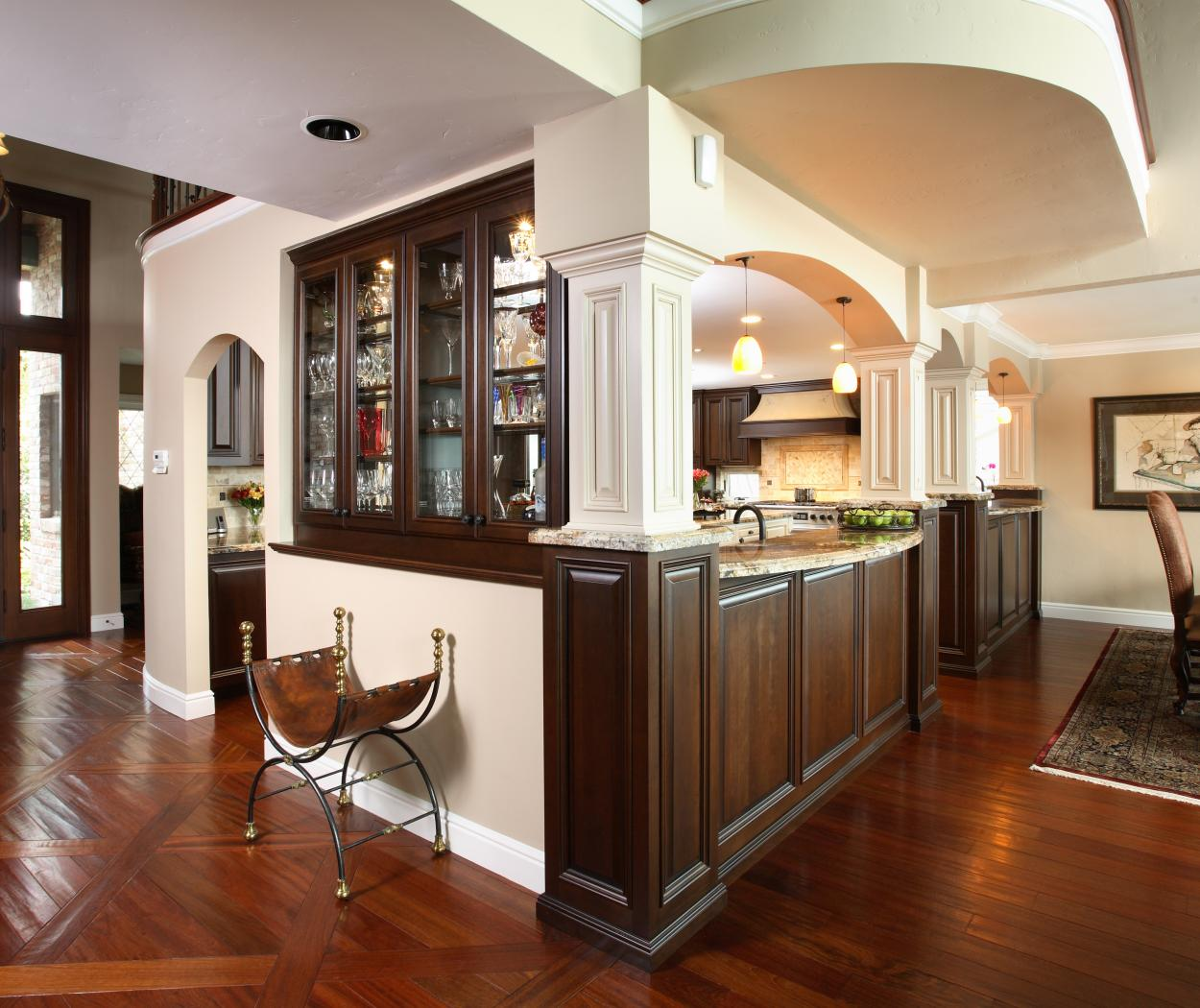 Traditional Chocolate Stain Built-In with Beautiful Glass Doors and Oil Rubbed Bronze Knobs