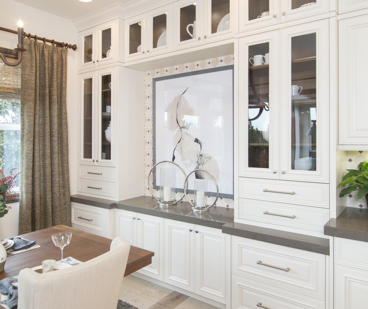 Beautiful Traditional Kitchen with Clear Glass Doors and Built-in Stained Shelves