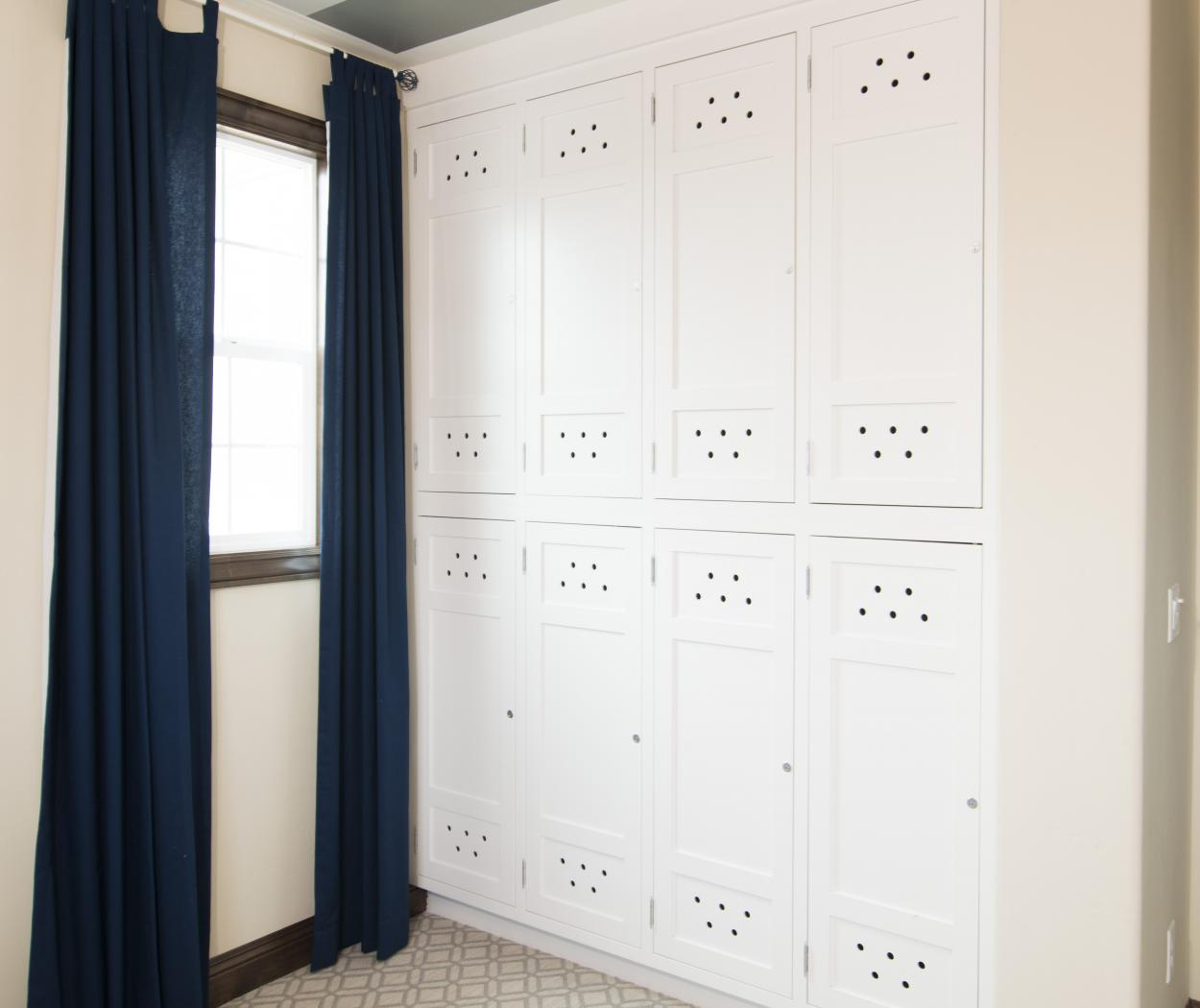 Beautiful White Built-In Lockers for Extra Storage