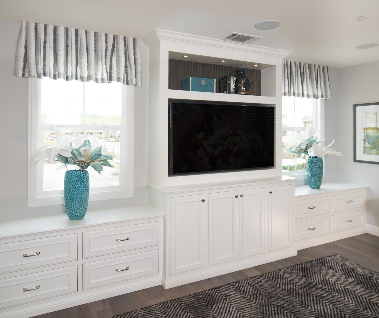 Beautiful White Entertainment Center with a Stained Beadboard Back and Silver Knobs - Pulls