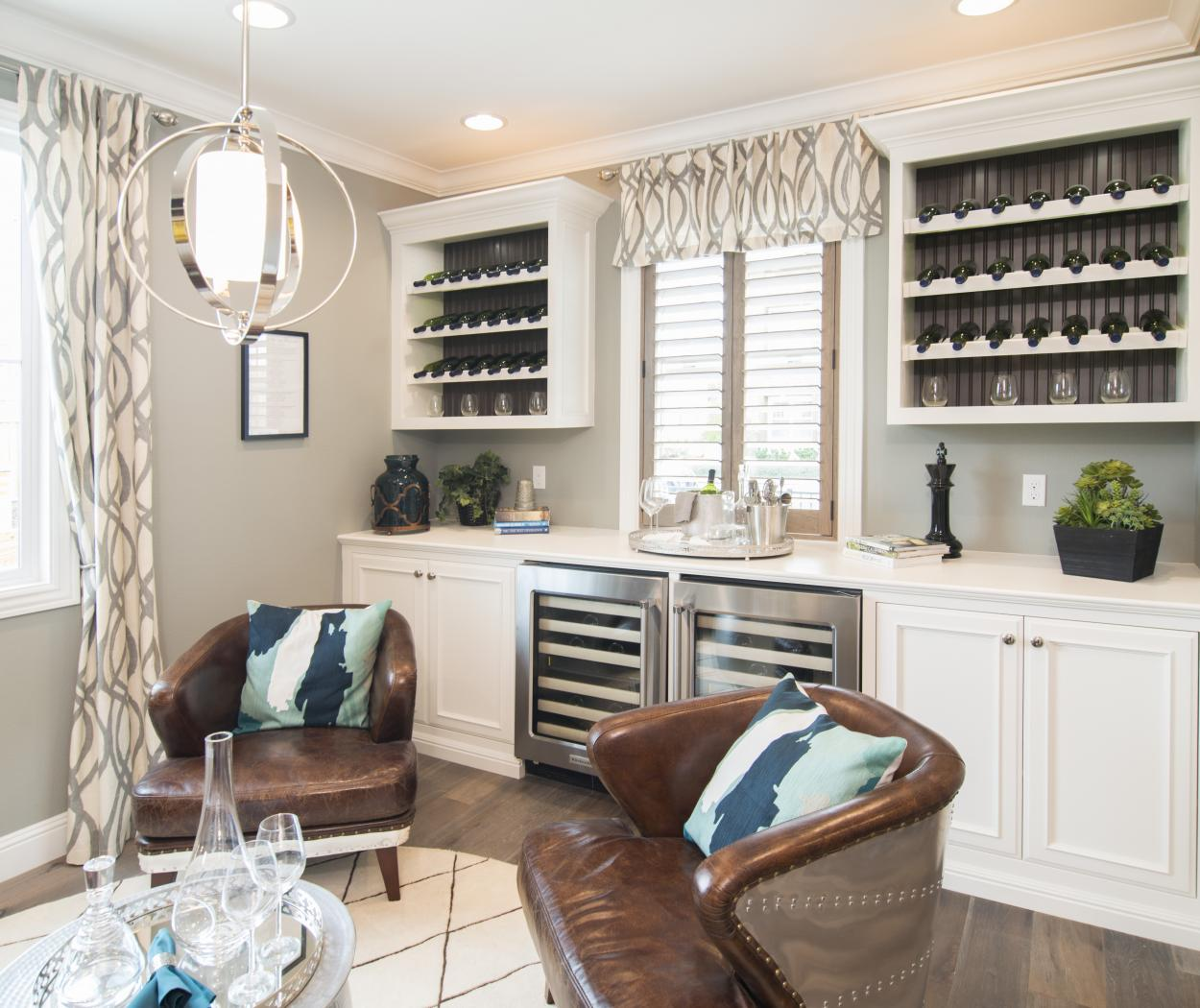 Transitional White Bar Built-In with Two Stainless Steel Wine Cellars, Wine Storage and Stained Beadboard Backing