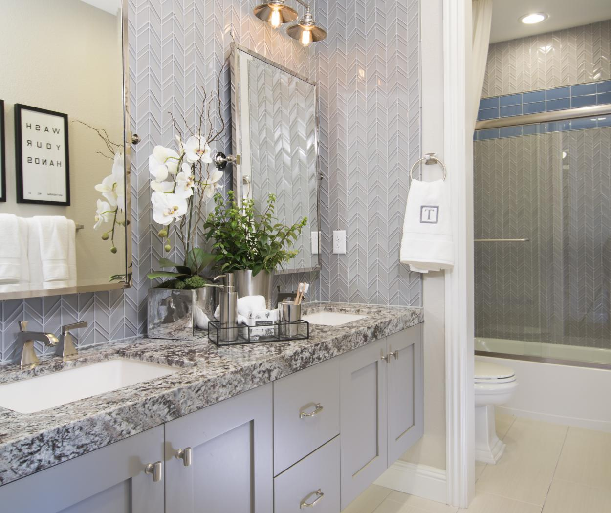 Transitional Painted Master Bathroom with a Beautiful Granite Counter Top, Double Sinks, Silver Faucets, Knobs and Pulls