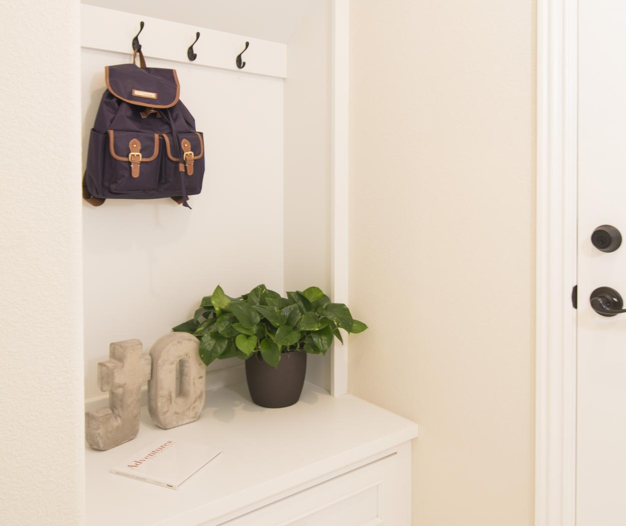 Transitional White Mudroom with Bench Seating