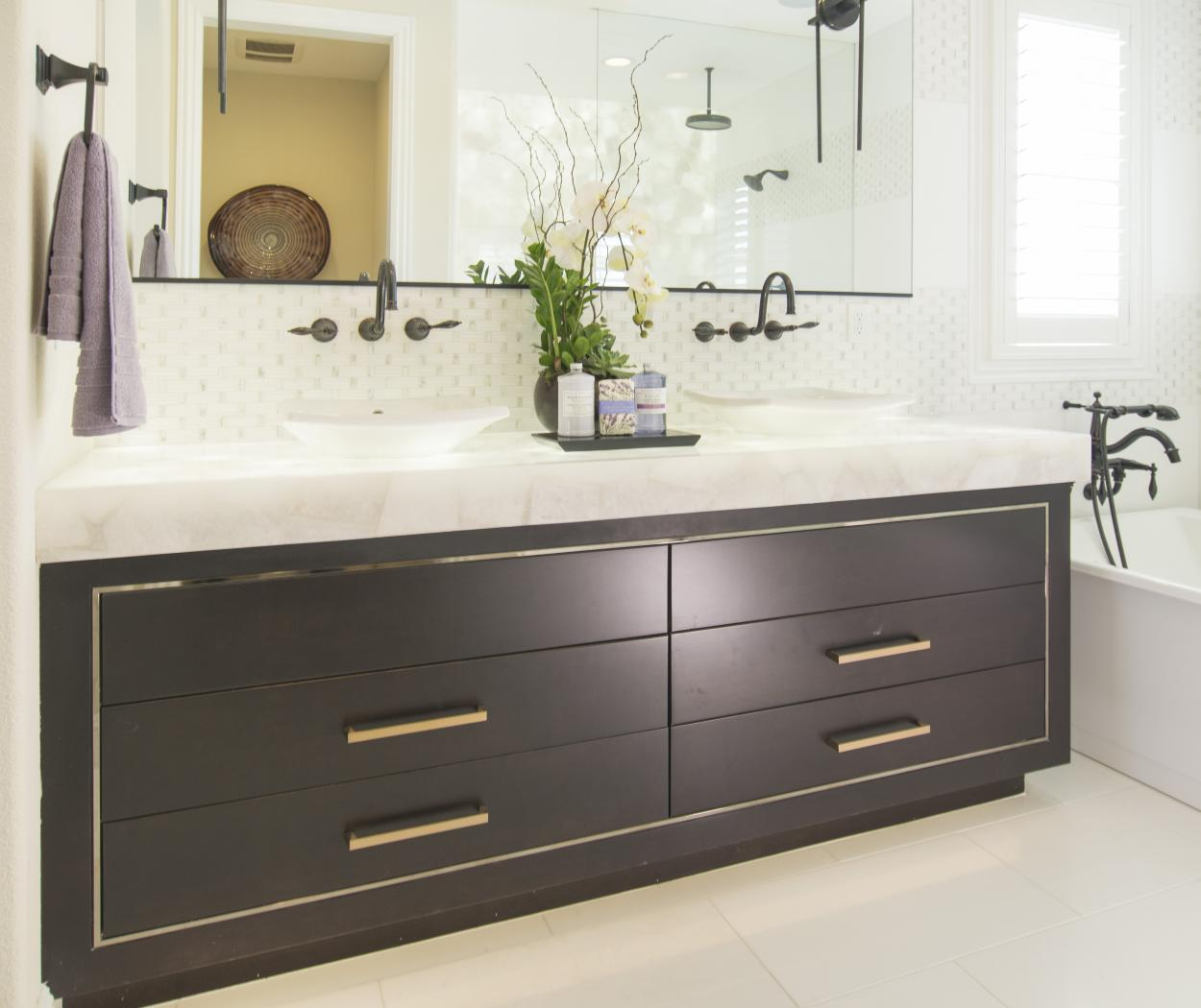 Beautiful Dark Espresso Bathroom Vanity with Double Sink Bowls, White Mixed Counter Top and Gold Pulls