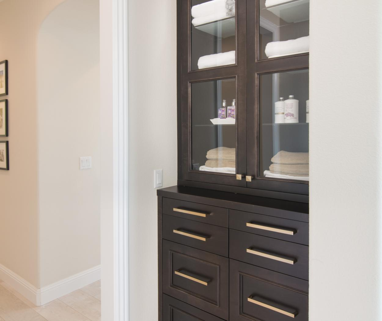 Beautiful Built-In with Glass Doors and Finished in a Dark Espresso Stain