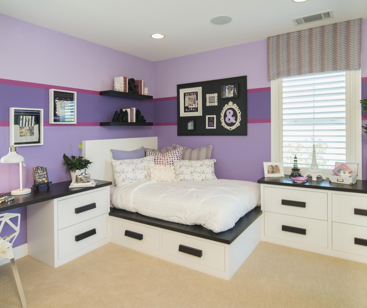 Beautiful Girl's Bedroom with White Built-Ins, Wood Handles and Wood Counter Tops