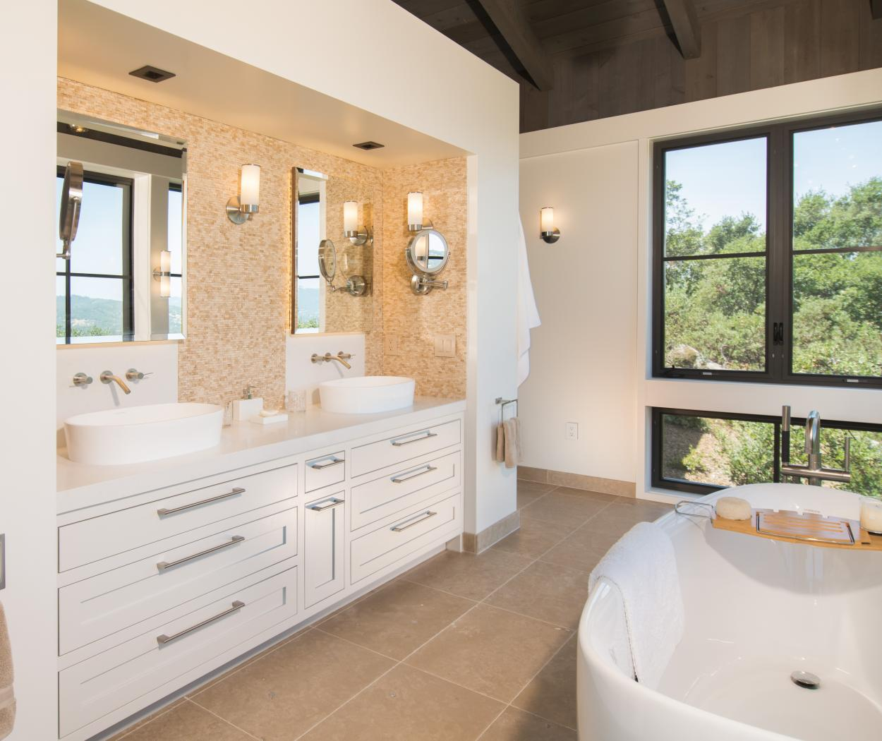 Beautiful Transitional White Master Bathroom with Stainless Steel Pulls