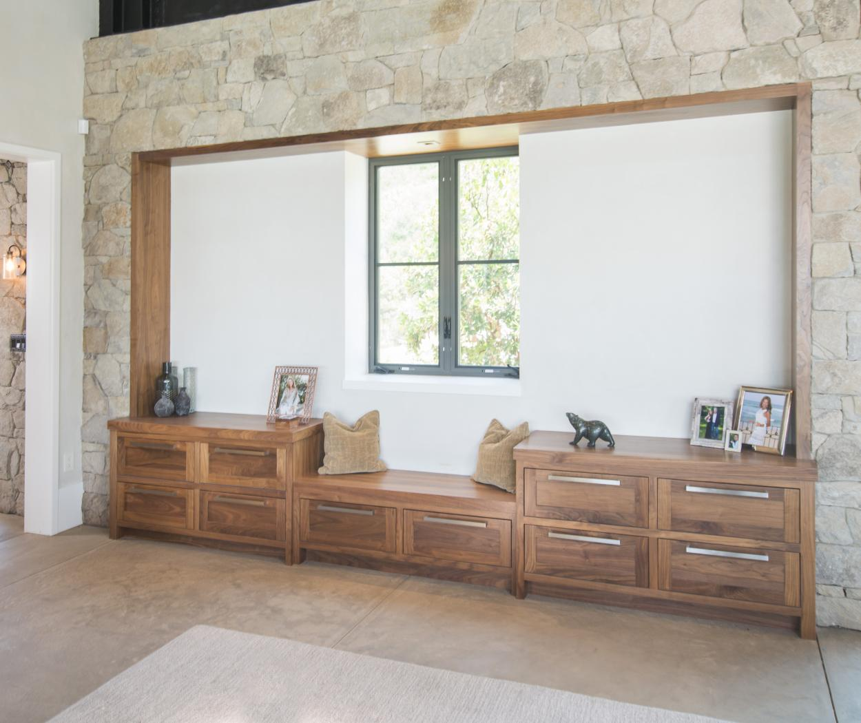Beautiful Transitional Walnut Living Room Built-Ins with Bench Seat