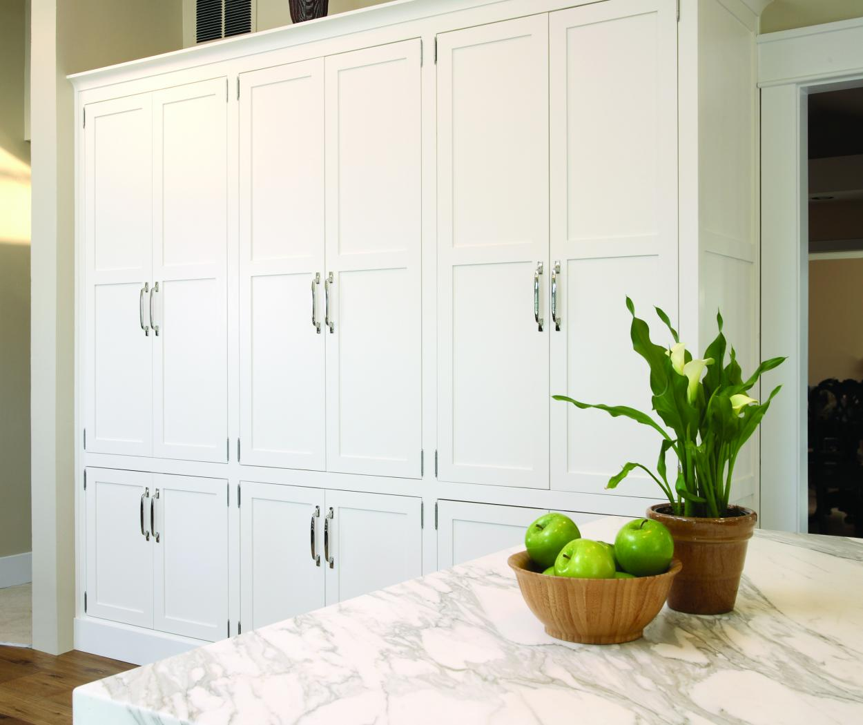 Beautiful White Transitional, Built-In Pantry with Chrome Hardware Pulls
