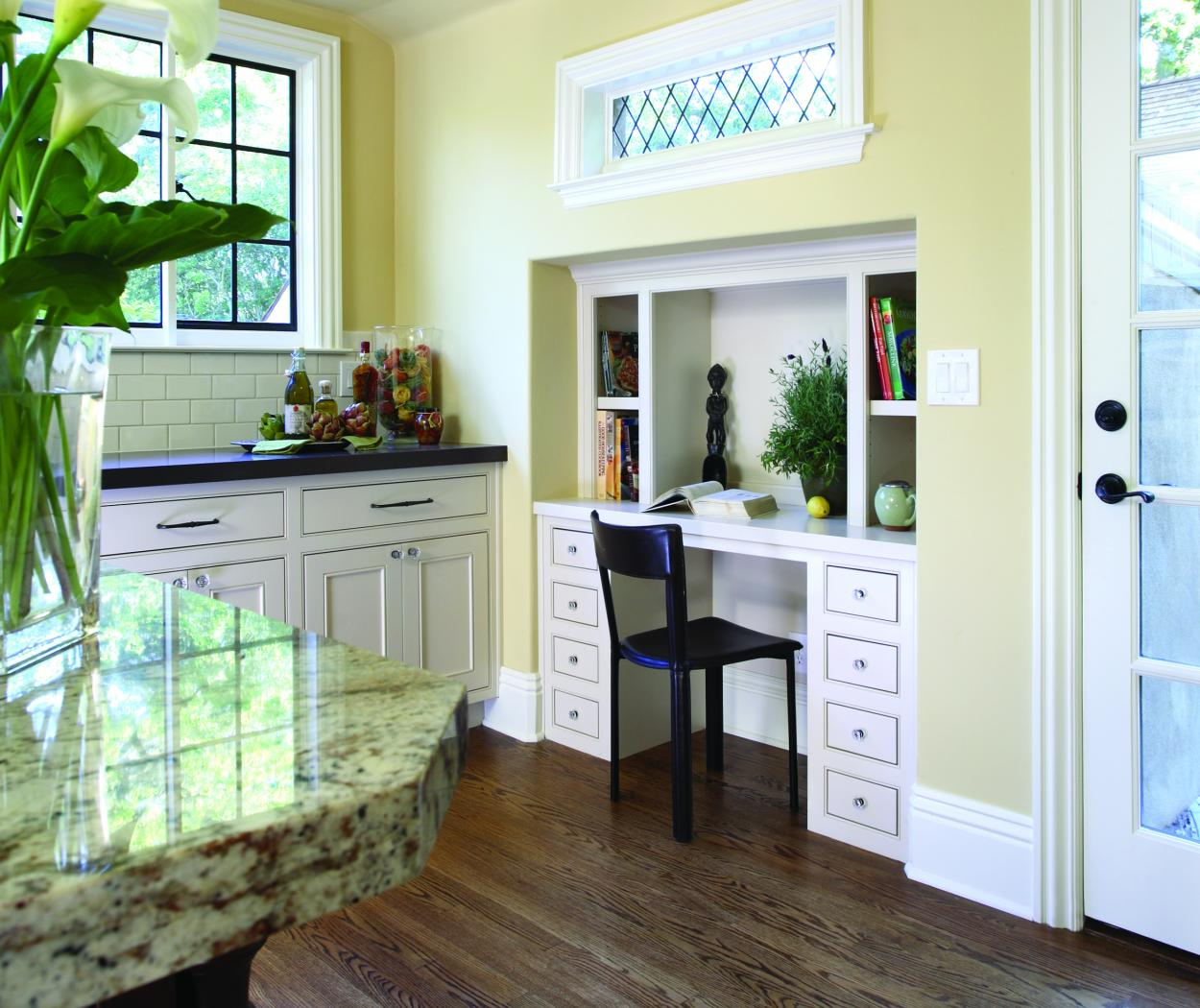 White Transitional Built-In Desk with Open Shelves and Diamond Shaped Knobs