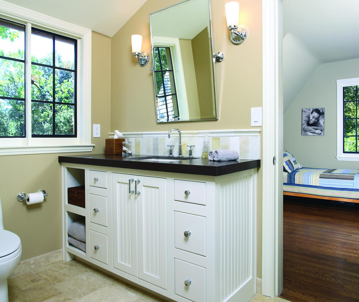White Transitional Bathroom Vanity with Beadboard Doors, Open Shelves and Chrome Hardware