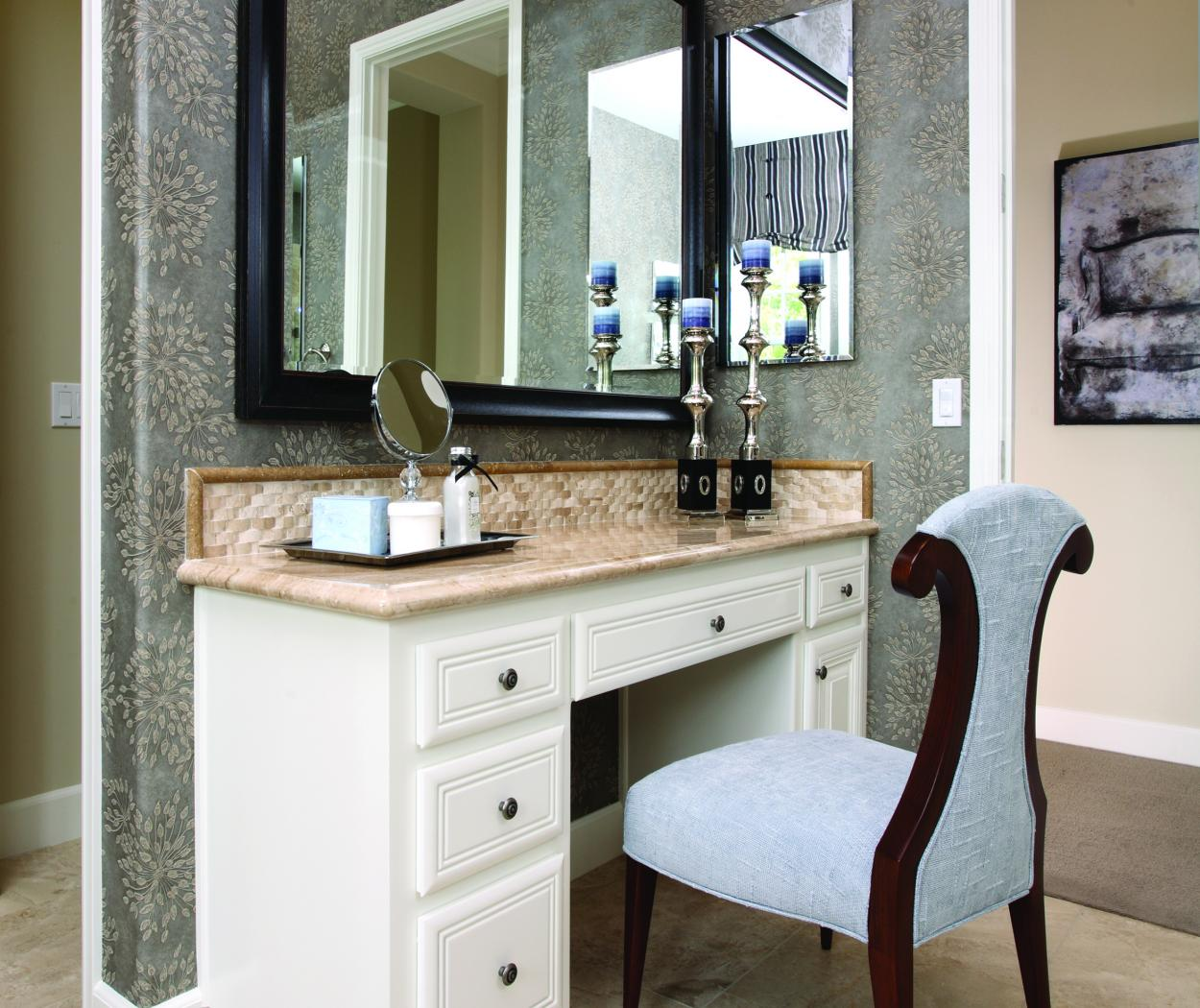 Traditional Powder Room Built-In with a Beautiful Tan Mixed Granite Countertop and Decorative Knobs