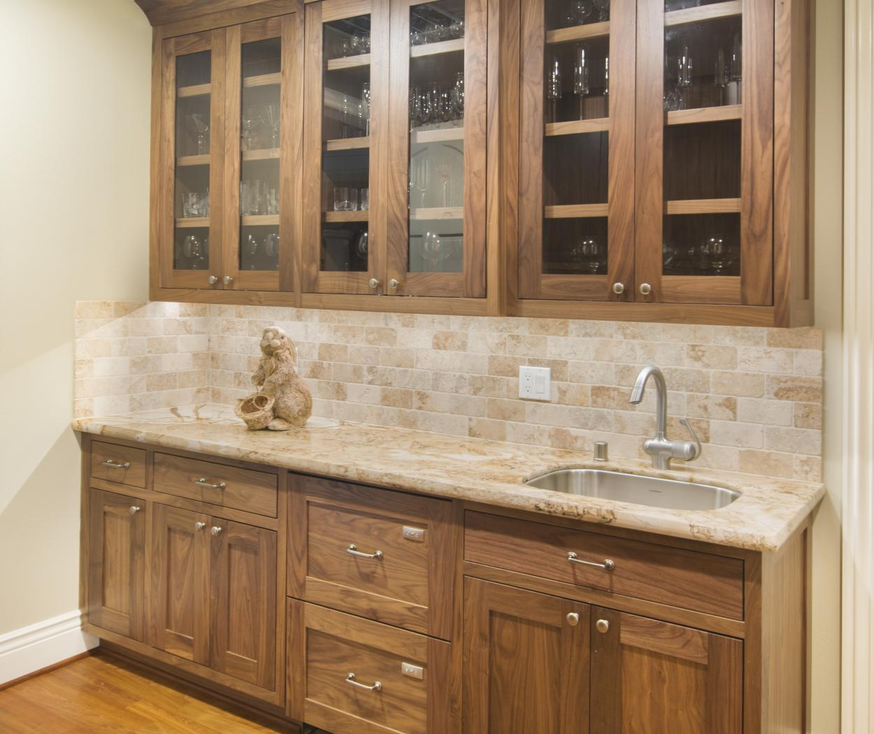 Beautiful Wet Bar Built in Natural Clear Walnut with Glass Doors