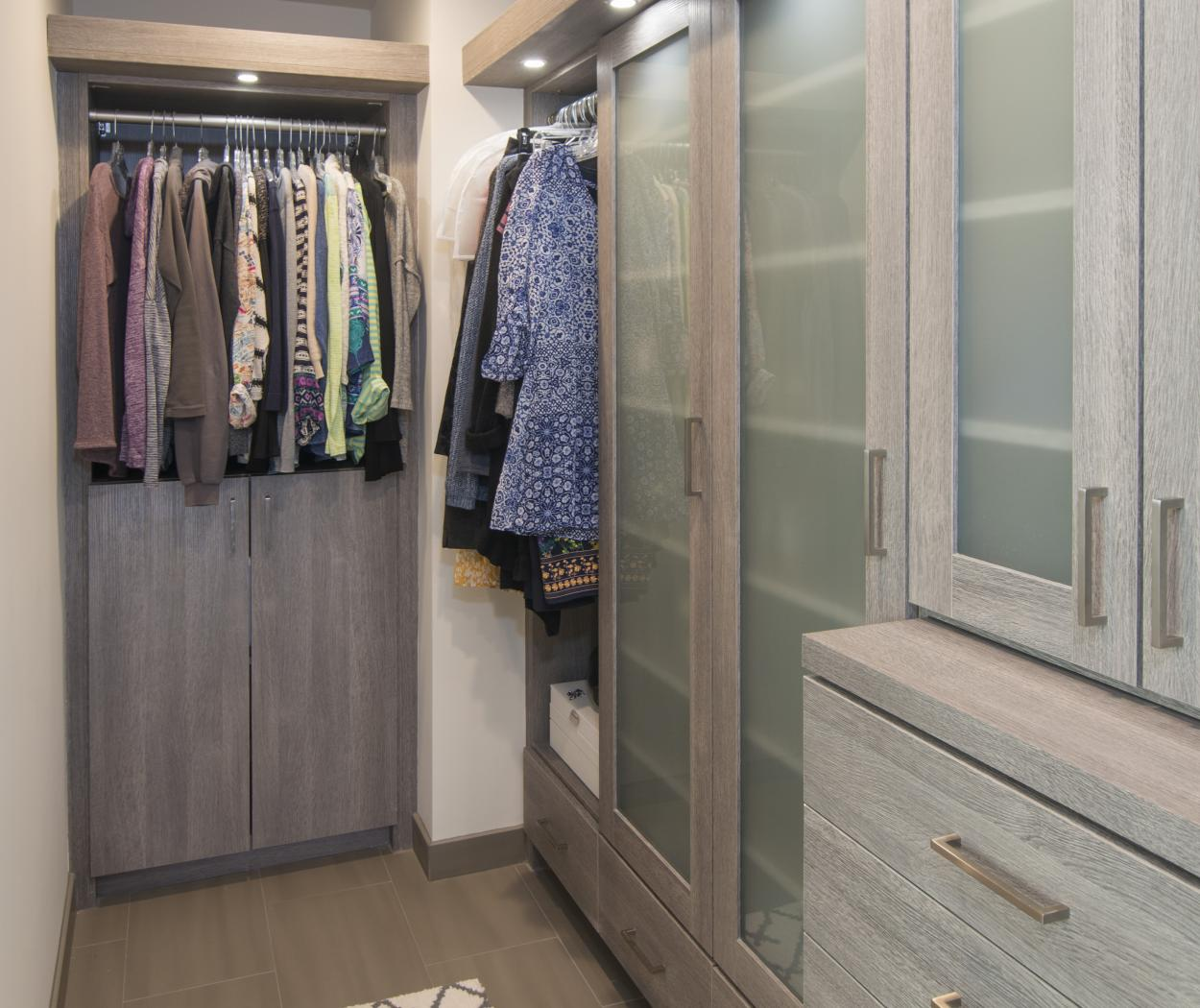 Beautiful Contemporary Walk-In Closet with Extra Storage