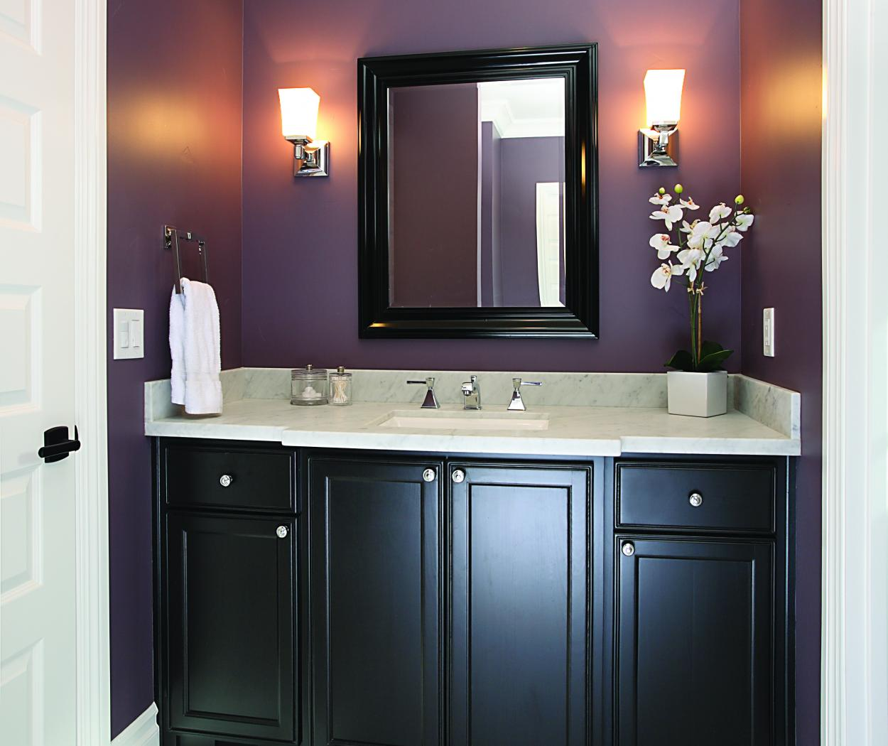 Transitional Bathroom Vanity Stained in Dark Espresso with a Beautiful Marble Counter Top and Polished Chrome Hardware