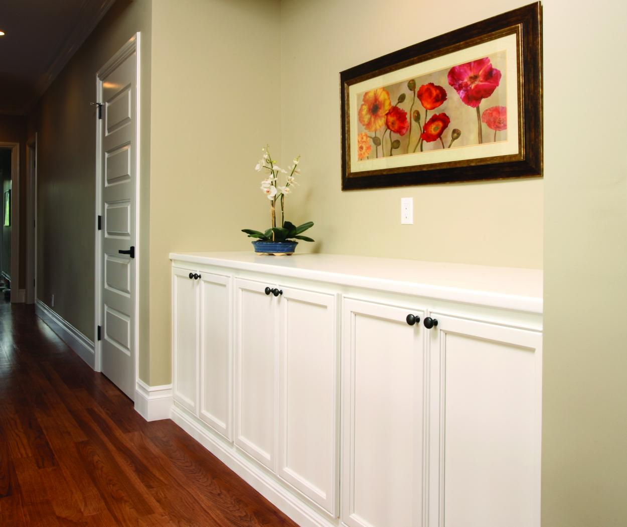 White Transitional Hallway Built-In with Oil Rubbed Bronze Hardware