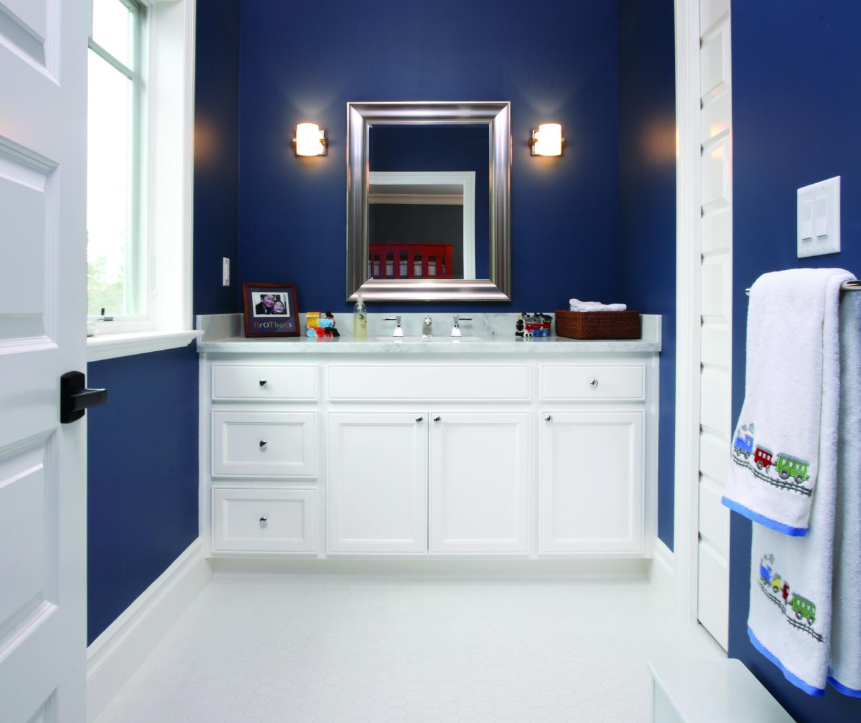 Little Boys' White Transitional Bathroom with a Marble Counter Top and Polished Chrome Hardware