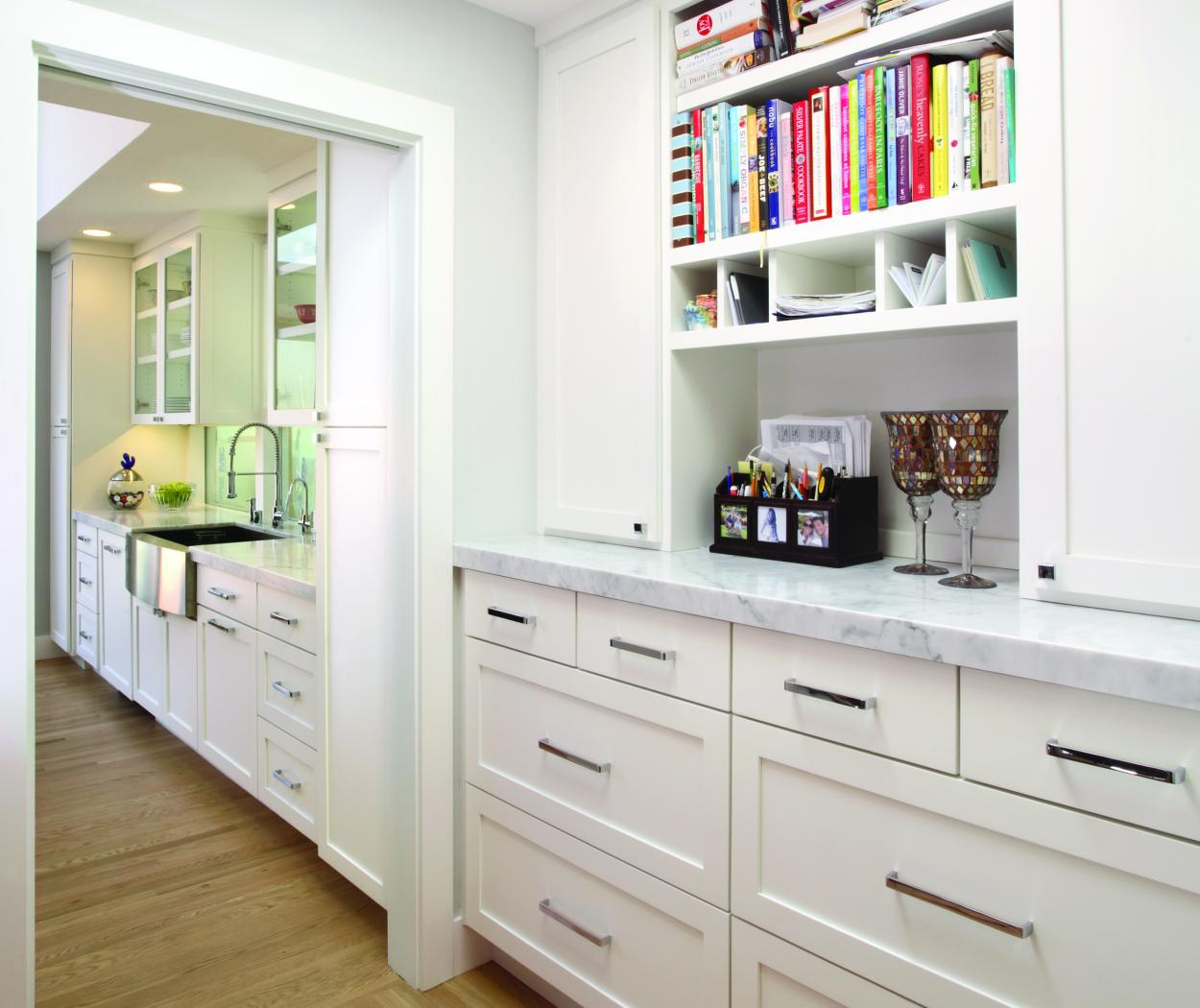 White Transitional, Shaker Style Built-In with Open Cubbies and Beautiful Marble Counter Tops