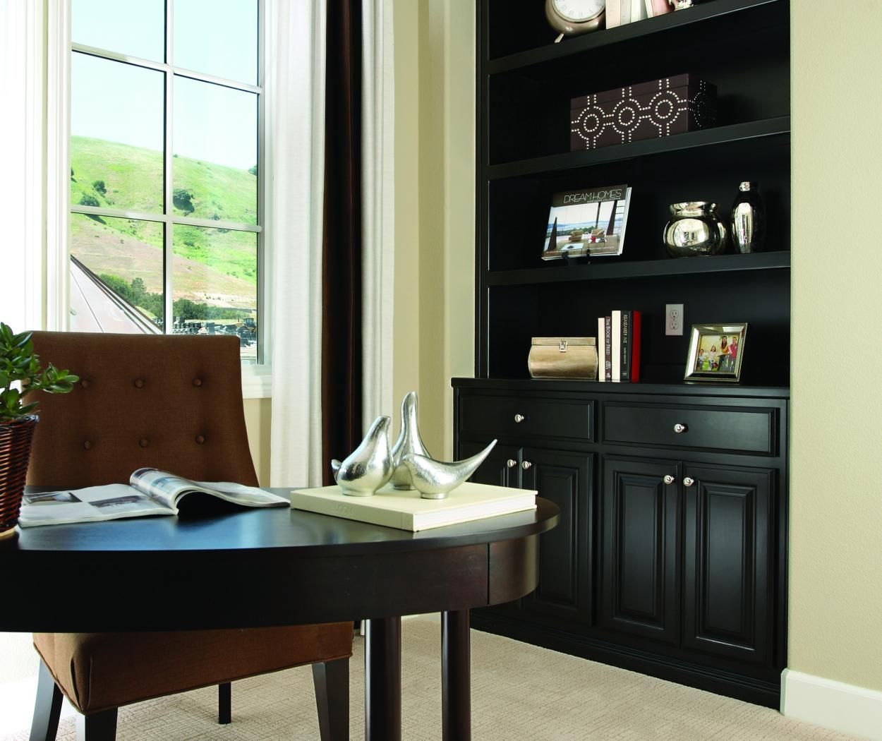 Beautiful Dark Espresso Stained Office Built-In with Open Shelves and Amerock Knobs
