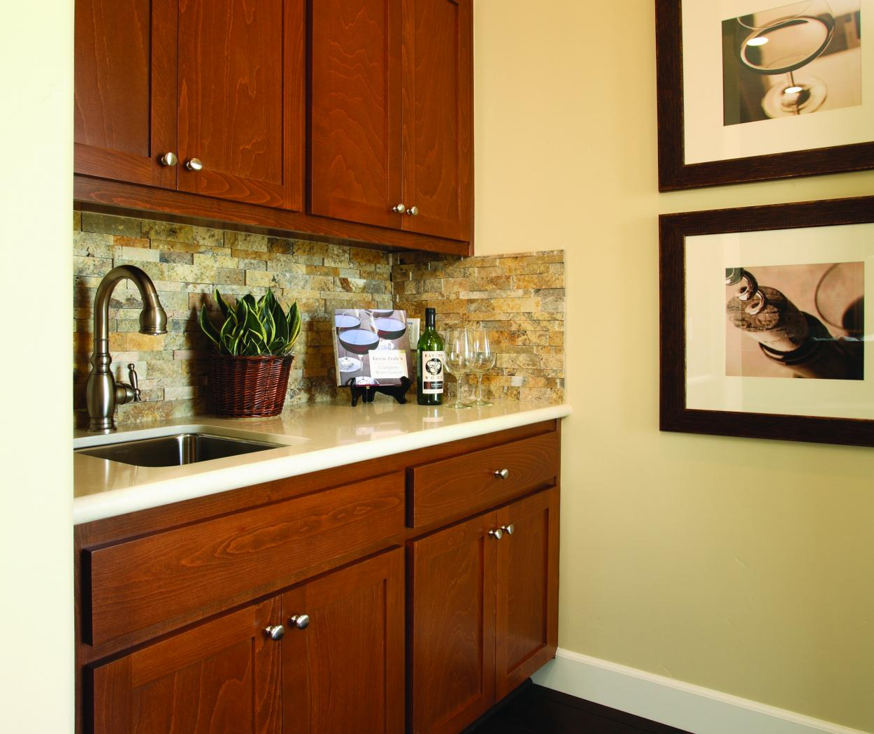 Transitional, Shaker Style Built-In with an Off White Counter Top and Amerock Chrome Knobs