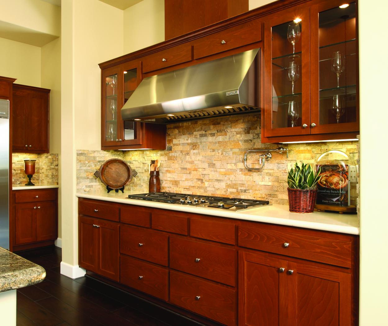 Transitional Stained Kitchen with Granite Counter Tops, Glass Doors and Stainless Steel Appliances