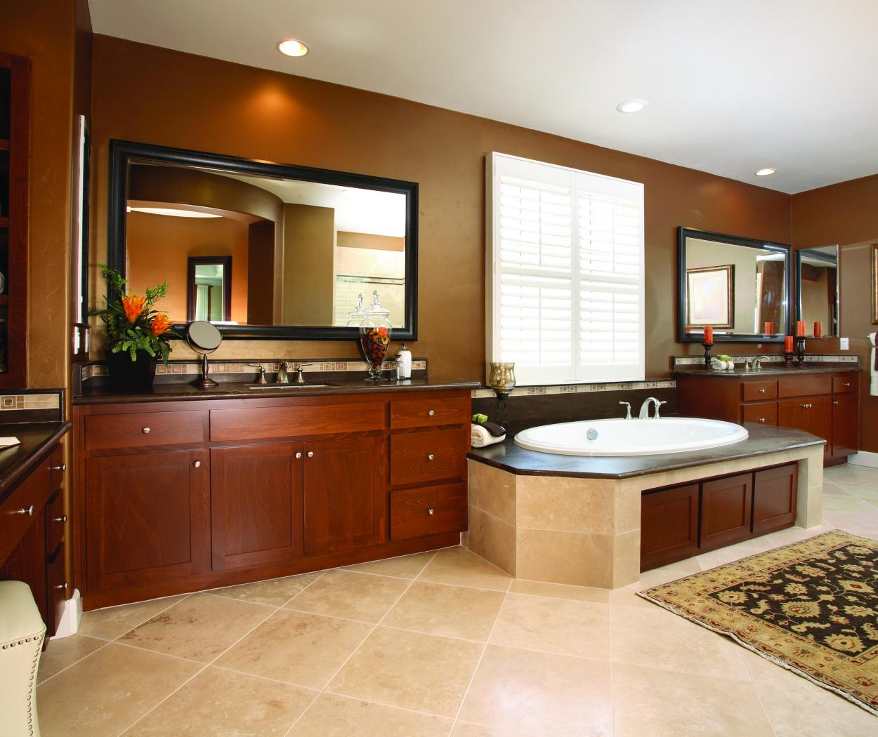 Beautiful Stained Master Bathroom with Double Vanities, Marble Counter Tops and Chrome Hardware
