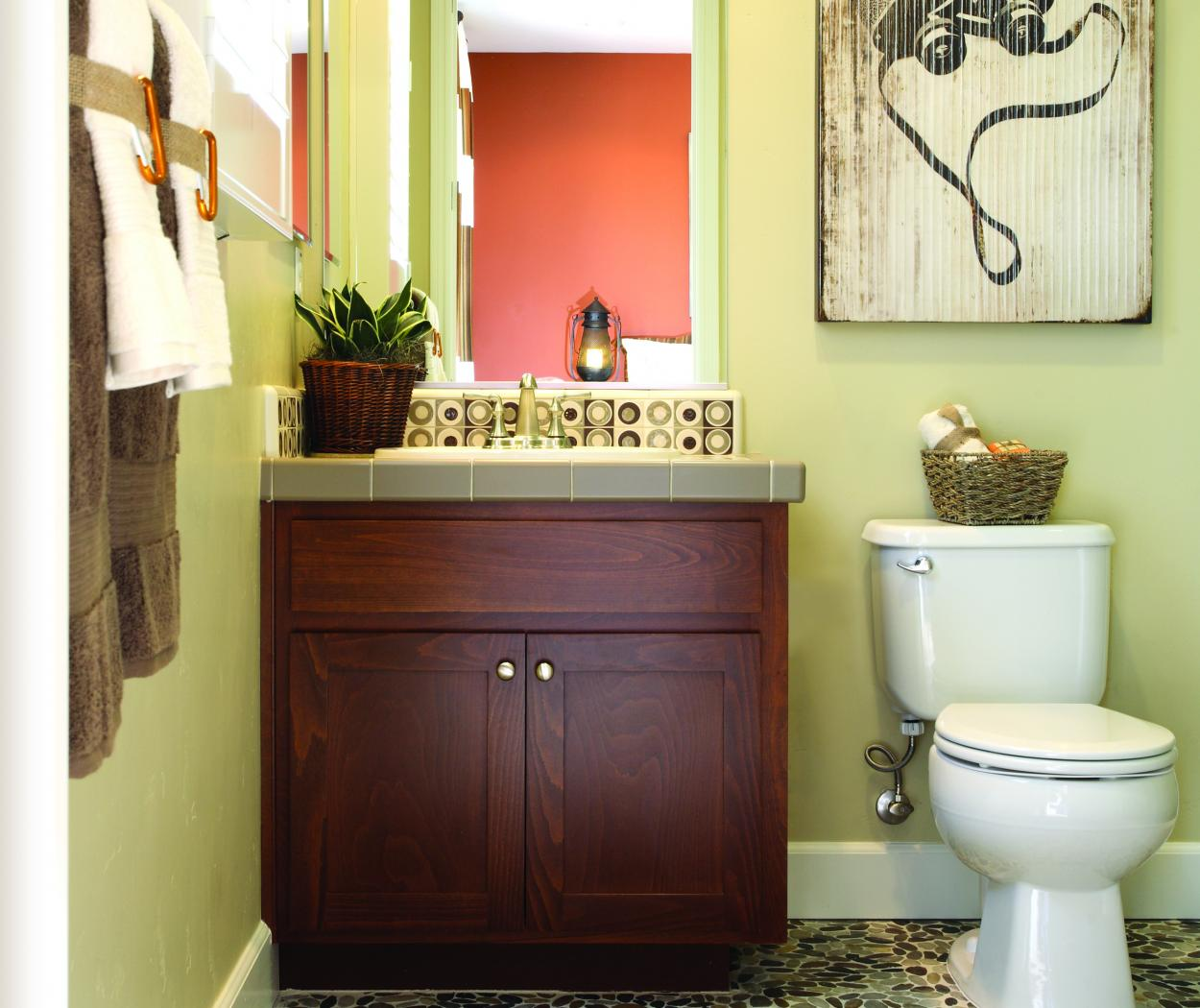 Beautiful Stained, Shaker Style Bathroom Vanity with Polished Brass Hardware