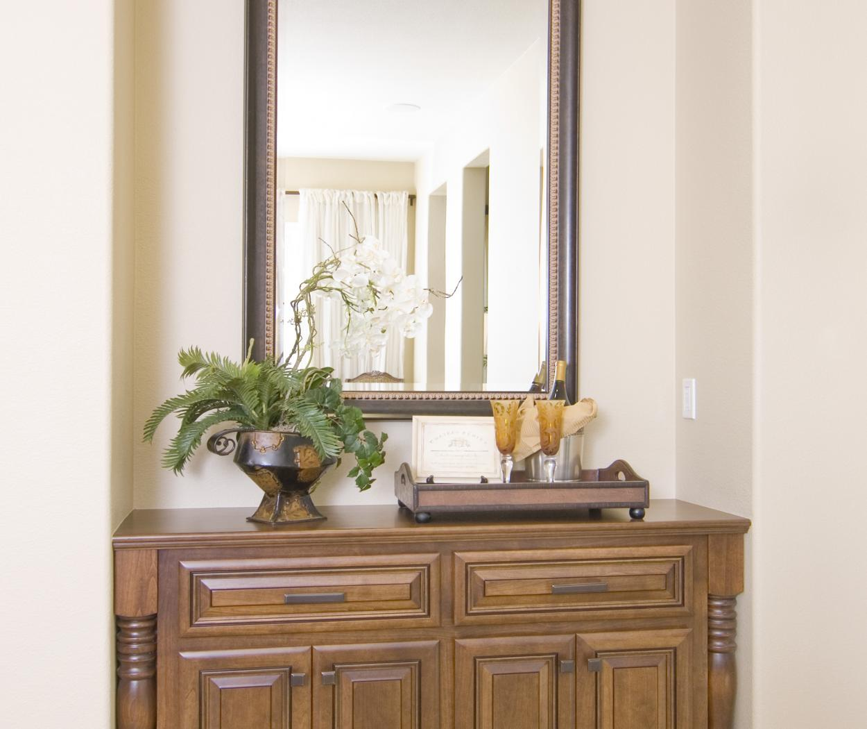 Traditional Stained Built-In with Ornate Decorative Posts and Oil Rubbed Bronze Hardware