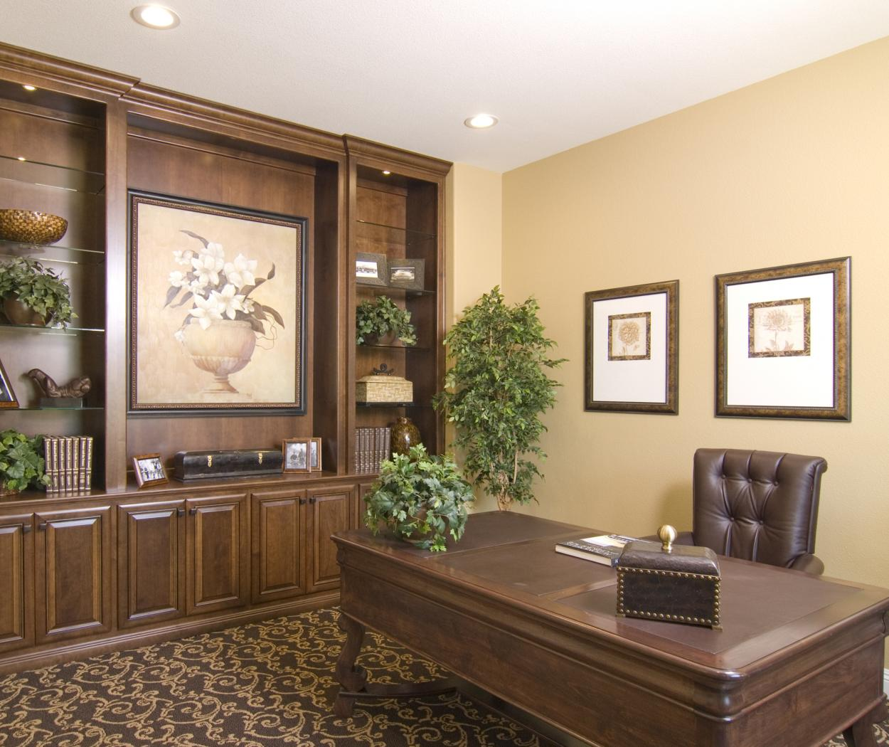 Beautiful Traditional Office Built-In with Glass Shelves and Oil Rubbed Bronze Pulls