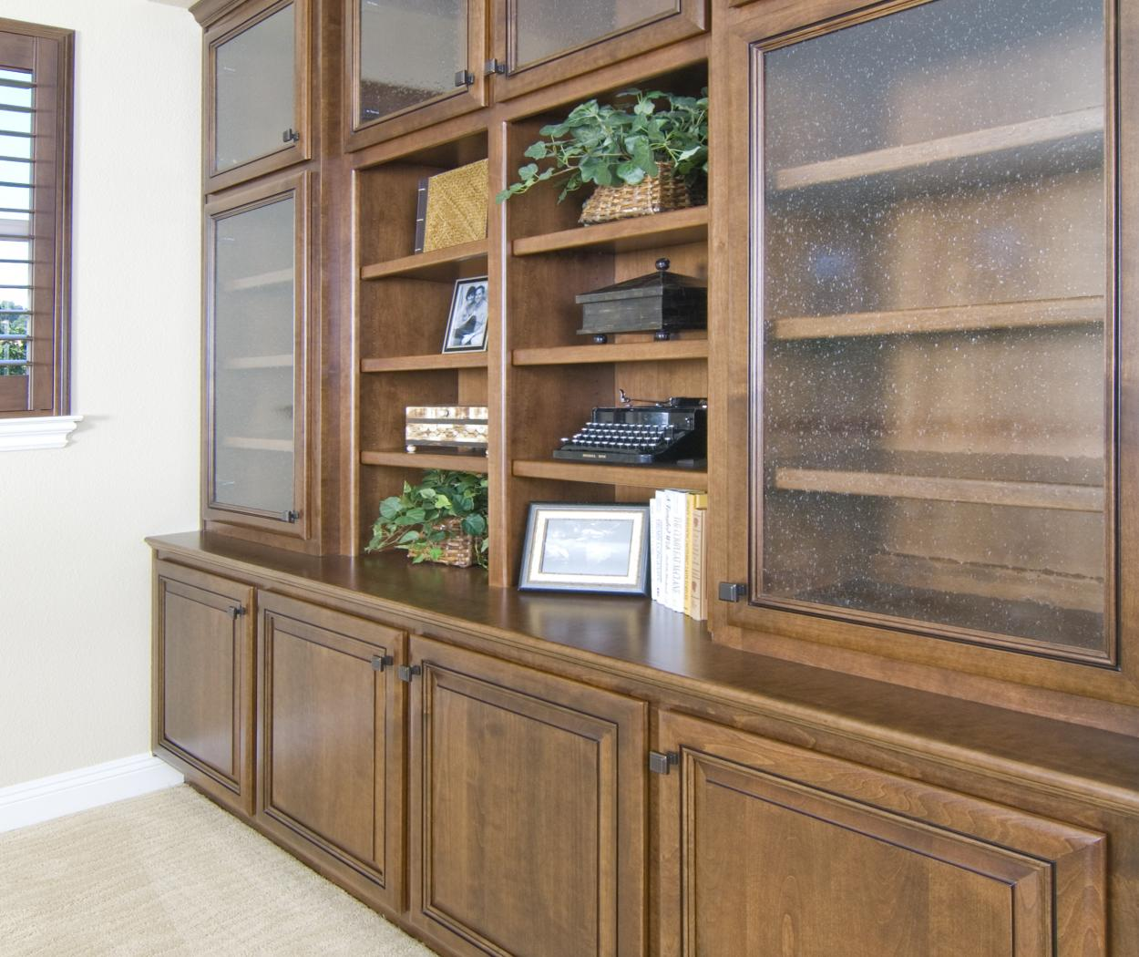 Traditional Stained Built-In with Decorative Glass Doors, Open Shelves and Oil Rubbed Bronze Knobs