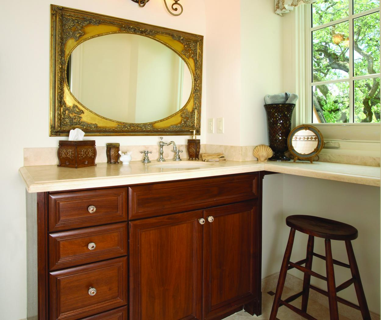 Transitional Walnut Bathroom Vanity with a Beautiful Marble Countertop and Decorative Knobs